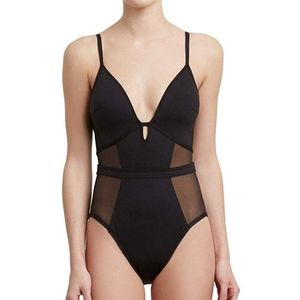 Kenneth Cole Black Mesh Keyhole One Piece Med